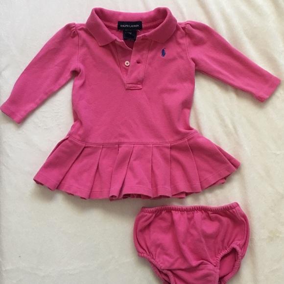 Ralph Lauren Dresses Pink Baby Girl Long Sleeve Polo Dress Poshmark